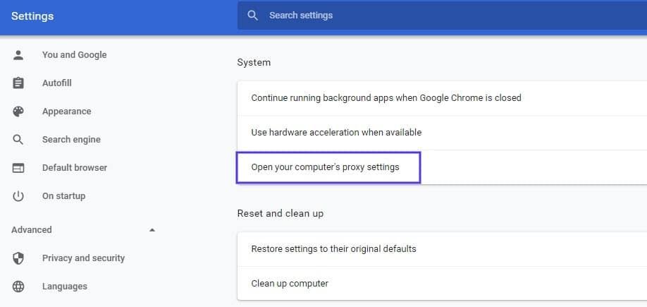 La página de configuración del sistema en Google Chrome