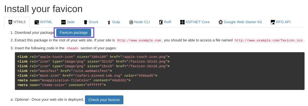 La pantalla para descargar el paquete Favicon