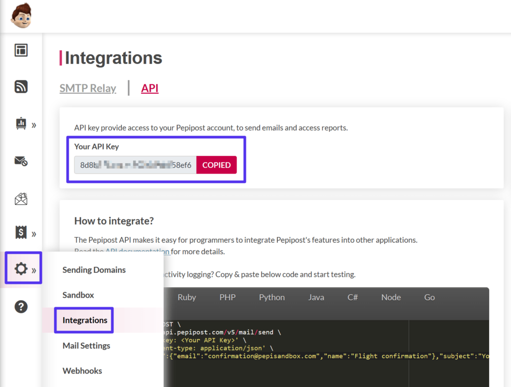 Acceder a la clave API de Pepipost