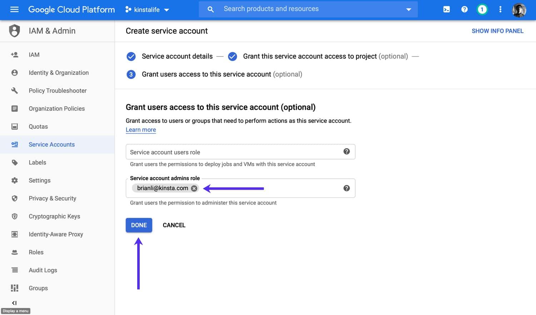 Añada un usuario administrador a su cuenta de servicio (opcional).
