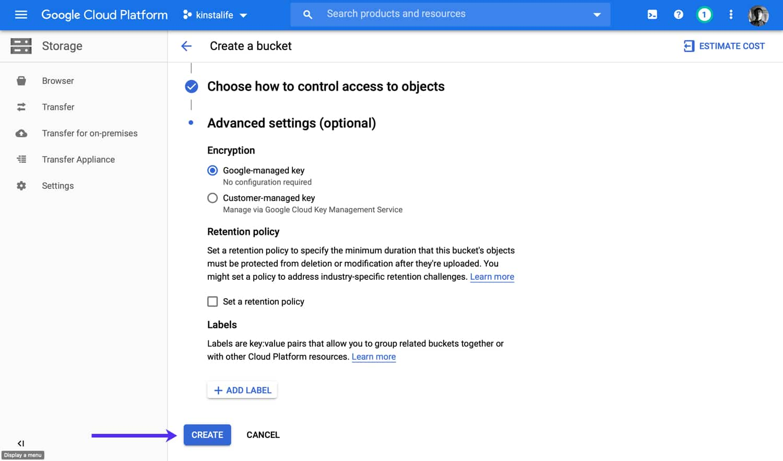 Crea tu cubo de almacenamiento en la Google Cloud.