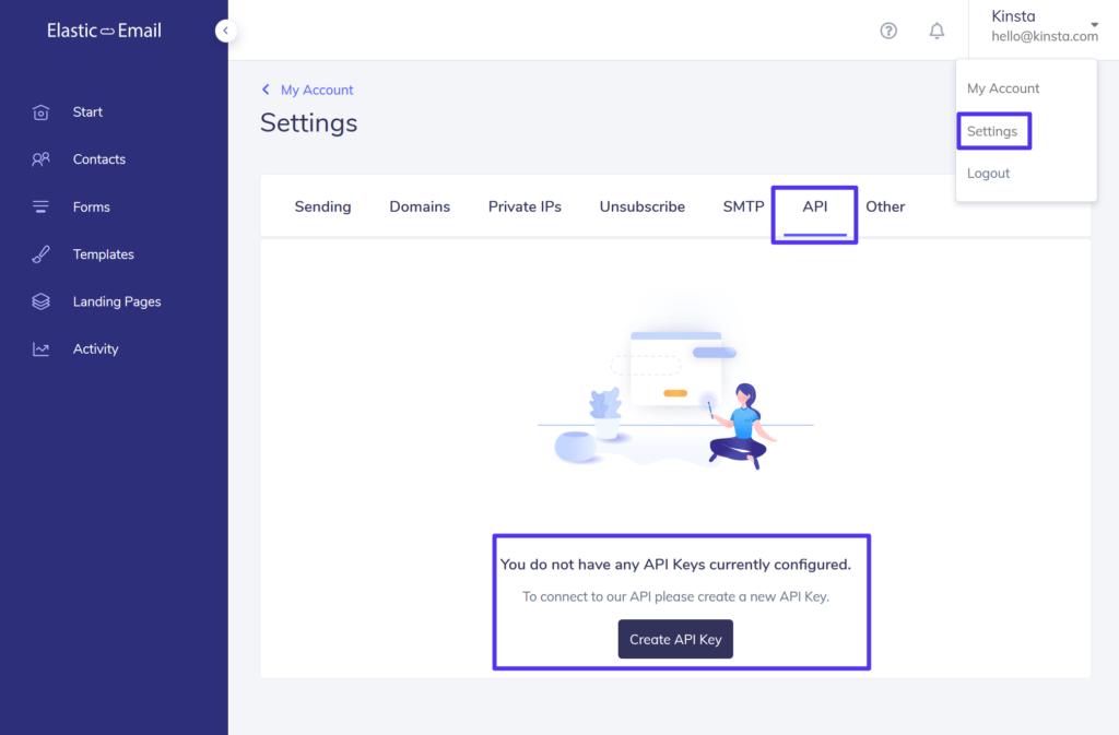 Crear una clave API de Elastic Email.