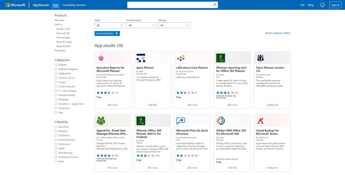 Integraciones de Microsoft Planner