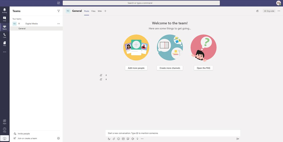 La interfaz de usuario de los Microsoft Teams
