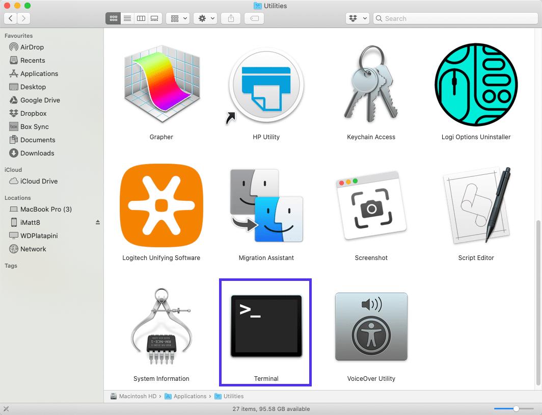 La aplicación Terminal en Mac