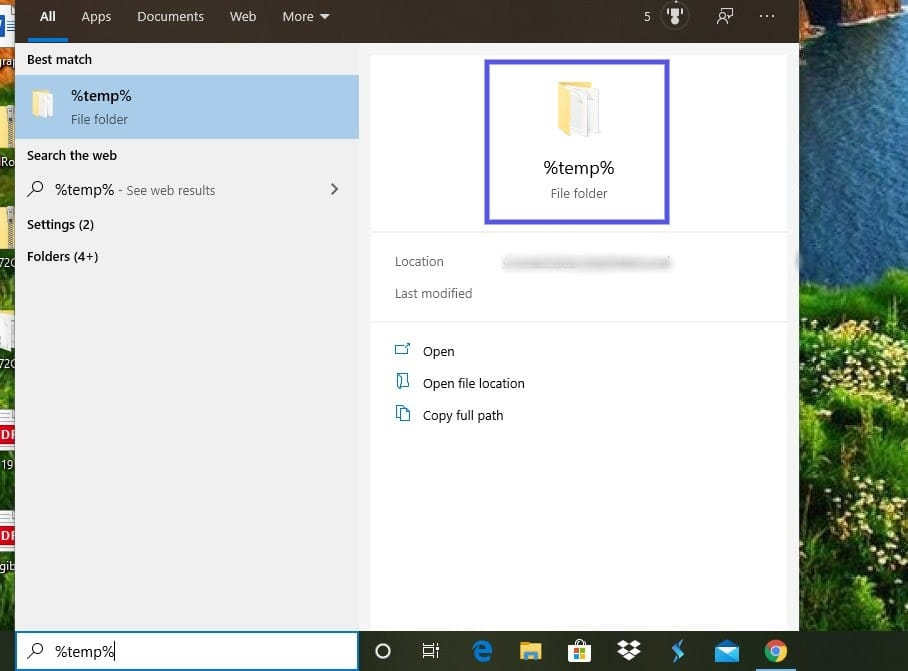 El directorio de archivos temporales de Windows