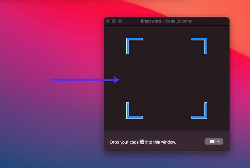 Arrastra tu captura de pantalla del código QR al escáner de códigos de 1Password.