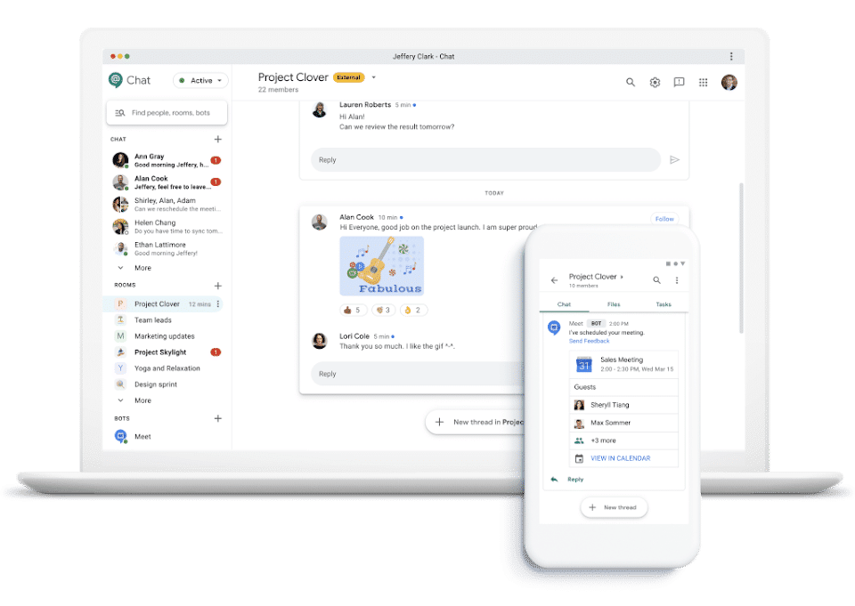 Interfaz de Google Chat