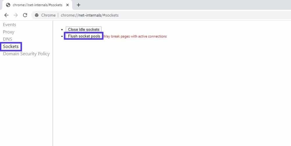 La página de configuración de Sockets en Google Chrome