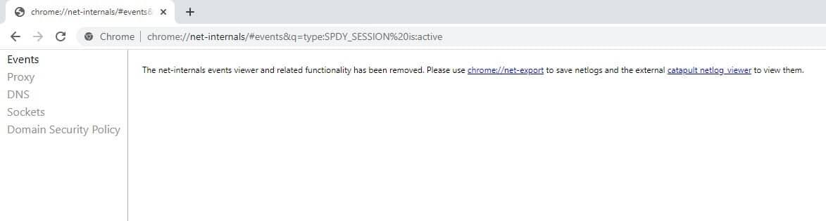 La página de configuración de SPDY en Google Chrome