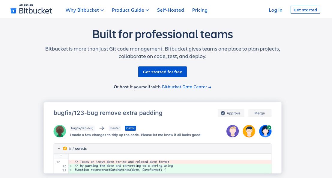 La página de inicio del sitio web de Bitbucket