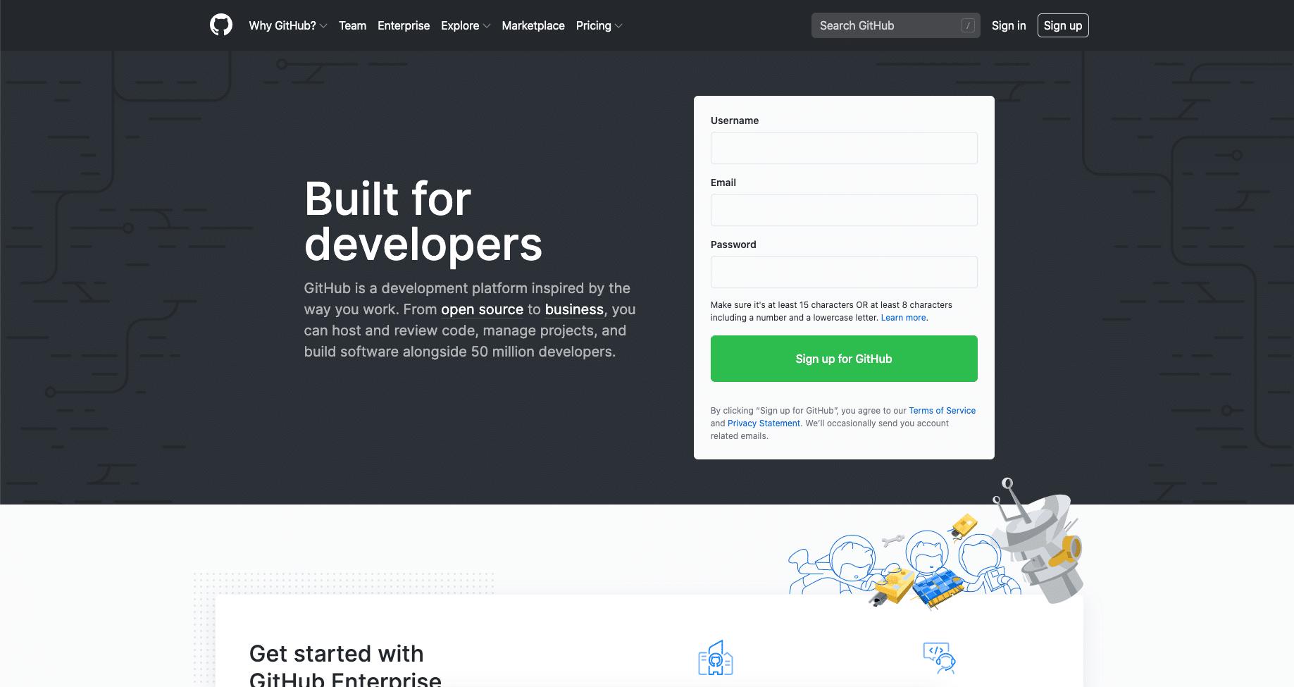 La página de inicio del sitio web de GitHub