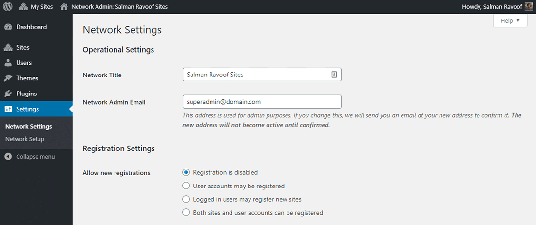 The 'Network Settings' panel in Network Admin dashboard