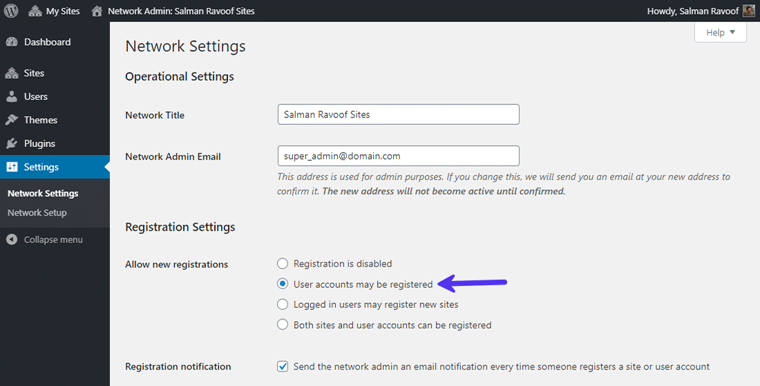Allowing users to register an account on your network