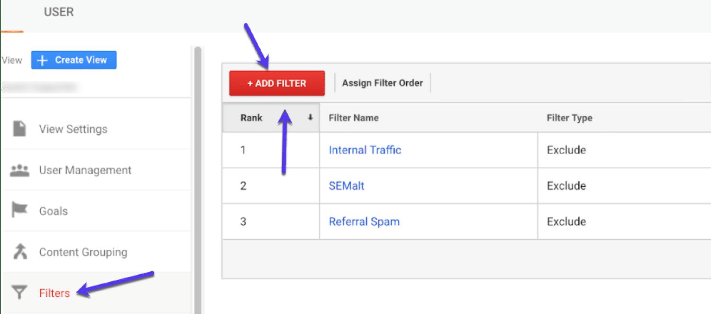 Añade un nuevo filtro a GA (y dale un nombre descriptivo)