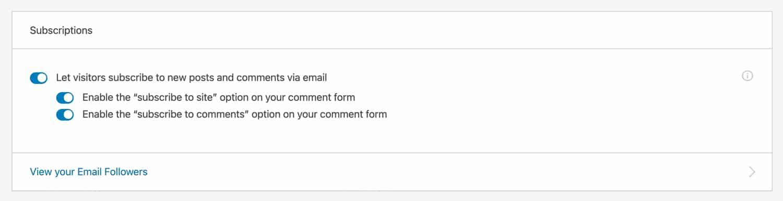Añade suscripciones de sitios y comentarios con Jetpack.