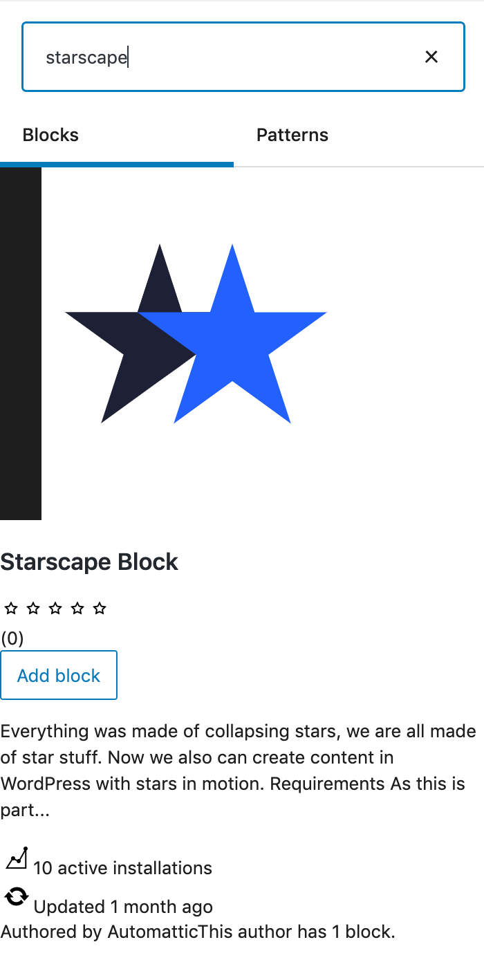 Un bloque de terceros de la comunidad de WordPress