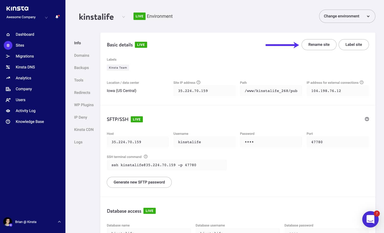 Cambie el nombre de su sitio Kinsta WordPress.