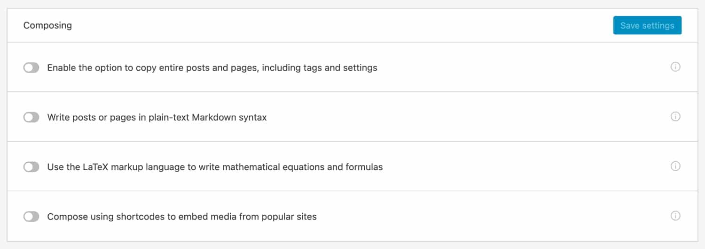 Funciones de escritura y gestión de contenidos en Jetpack.