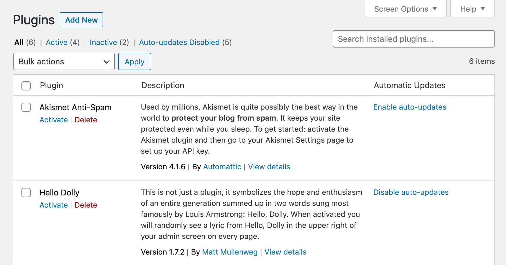 Habilitando las actualizaciones automáticas para los plugins