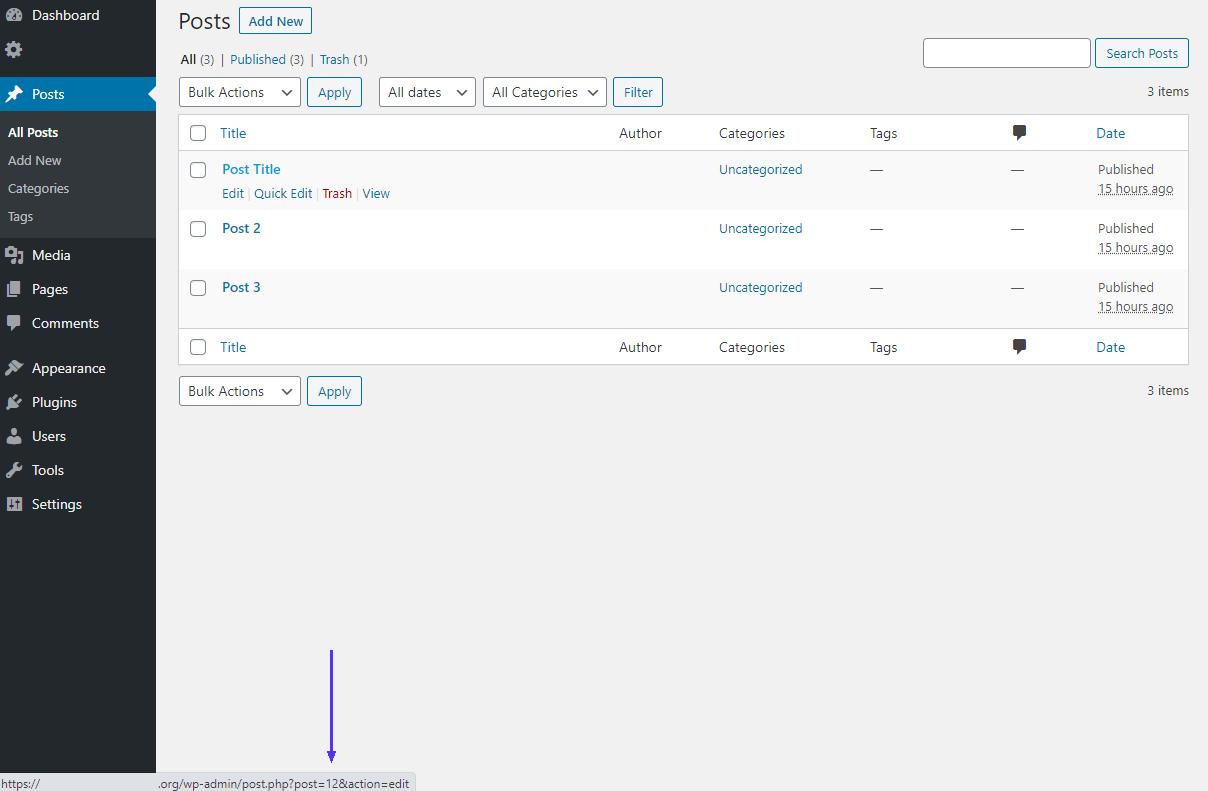 Identificación de la página de WordPress