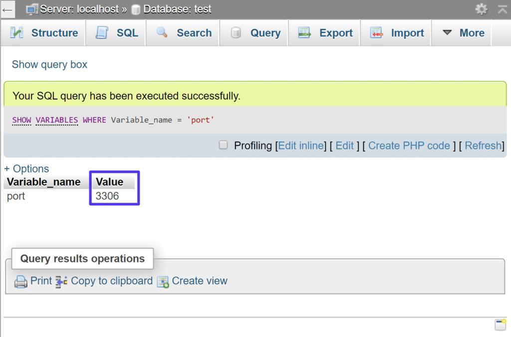 El número de puerto de MySQL después de ejecutar la consulta