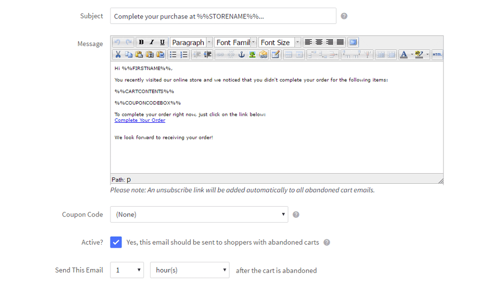 BigCommerce - editor de plantillas de correo electrónico