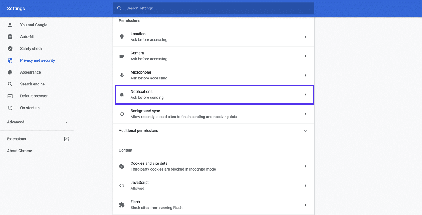 Configuración de Chrome - notificaciones