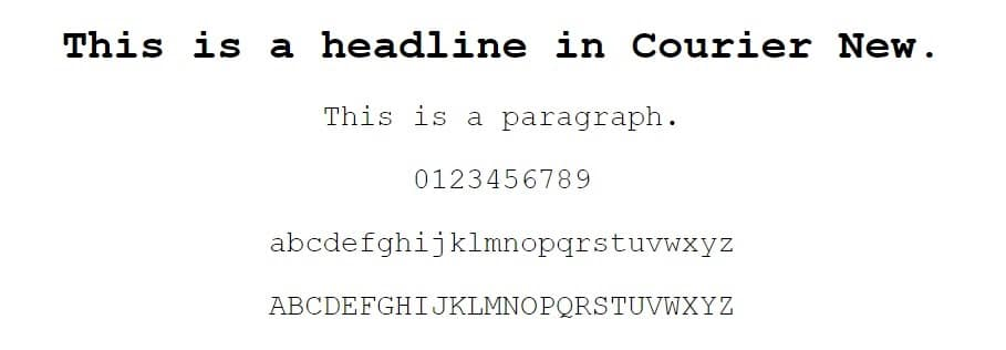 Ejemplo de fuente Courier New