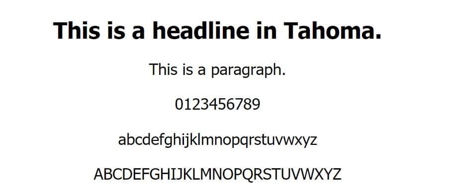 Ejemplo de fuente Tahoma