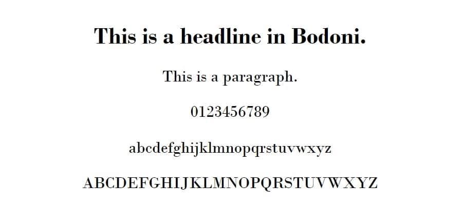 Ejemplo de fuente Bodoni MT