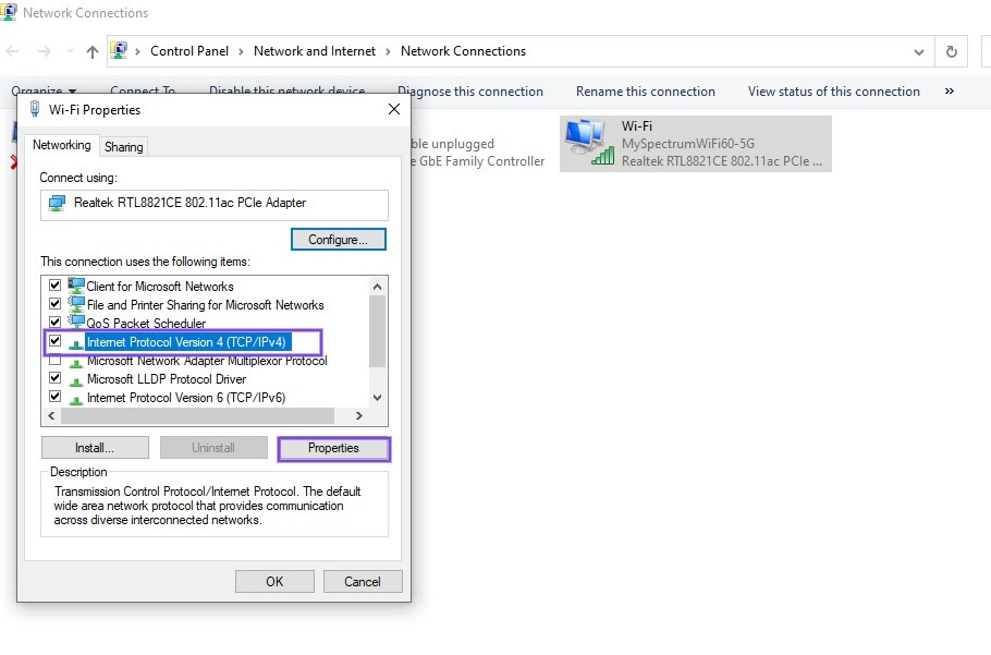 El panel de propiedades de Wi-Fi en Windows