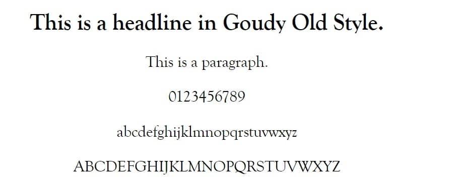 Ejemplo de fuente Goudy Old Style