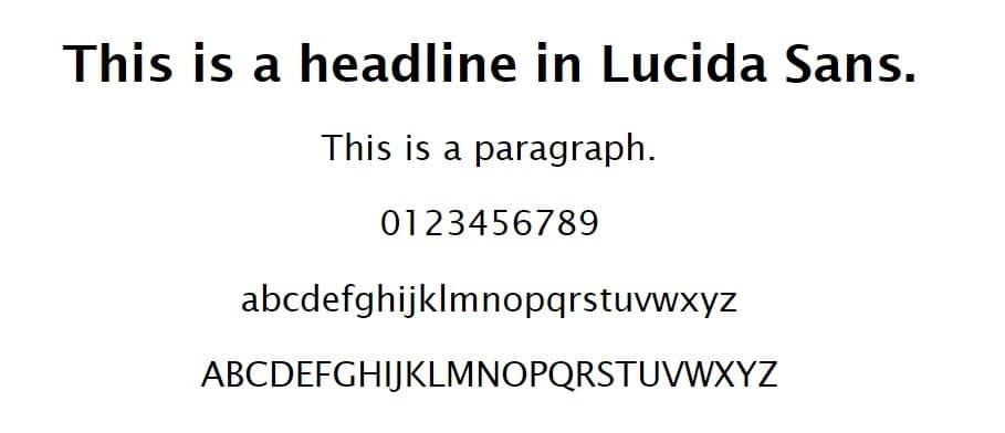 Ejemplo de fuente Lucida Sans