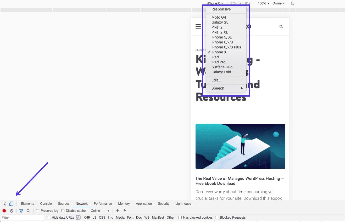 Probando los diseños de respuesta y móviles en Chrome