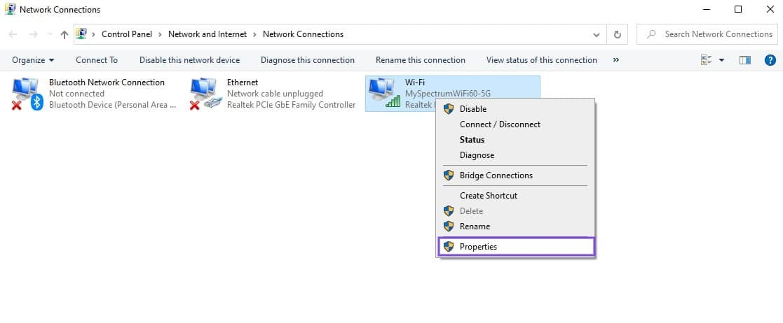 El elemento de menú Propiedades de la conexión de red en Windows