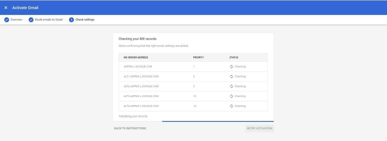Activación de Gmail en el paquete G