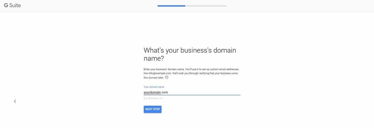 G Suite nombre de dominio