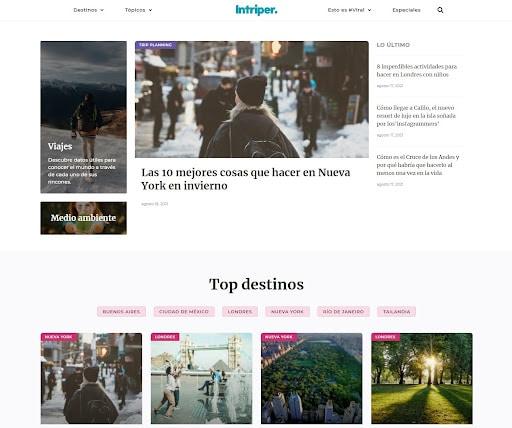 Homepage de Intriper