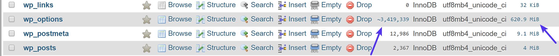 wp_options-taulukko, jossa on miljoonia rivejä