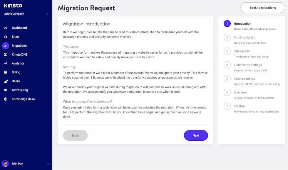 Formulaire de migration WordPress