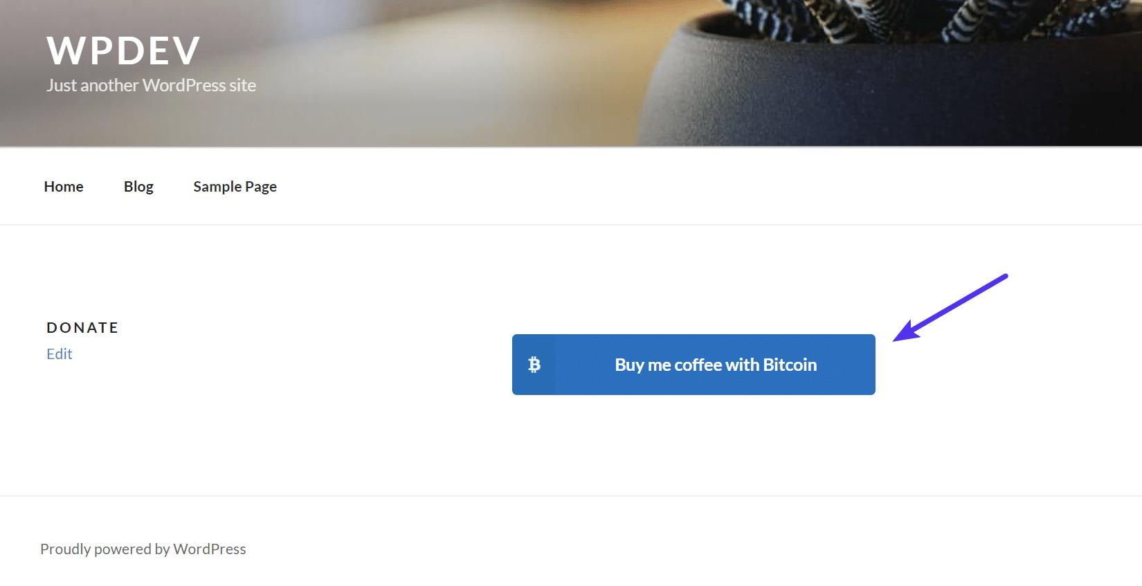 Bouton de don de Bitcoins