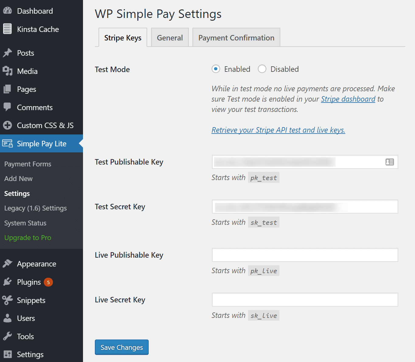 Installer l'extension WP Simple Pay Lite