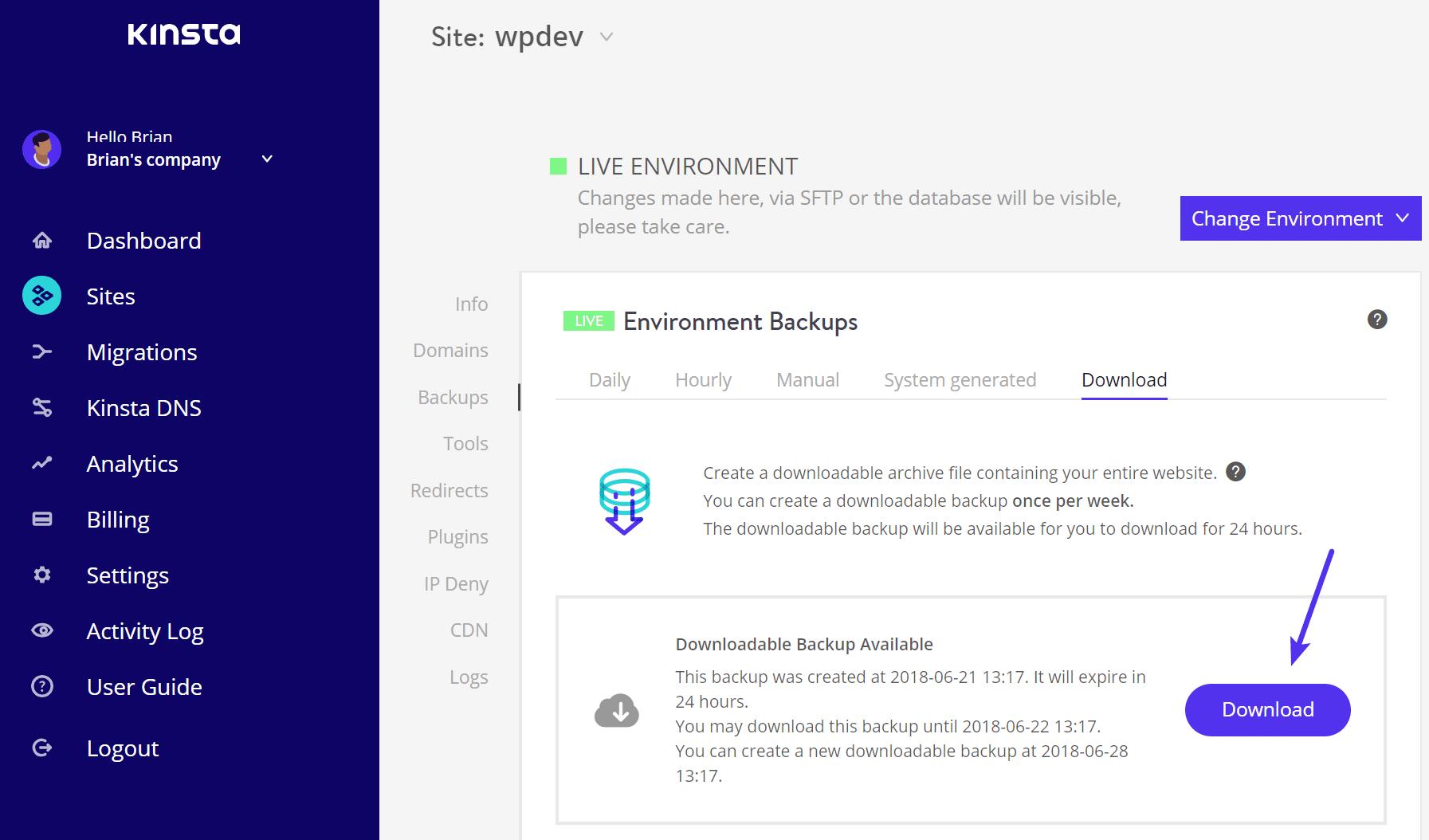 Télécharger la sauvegarde WordPress