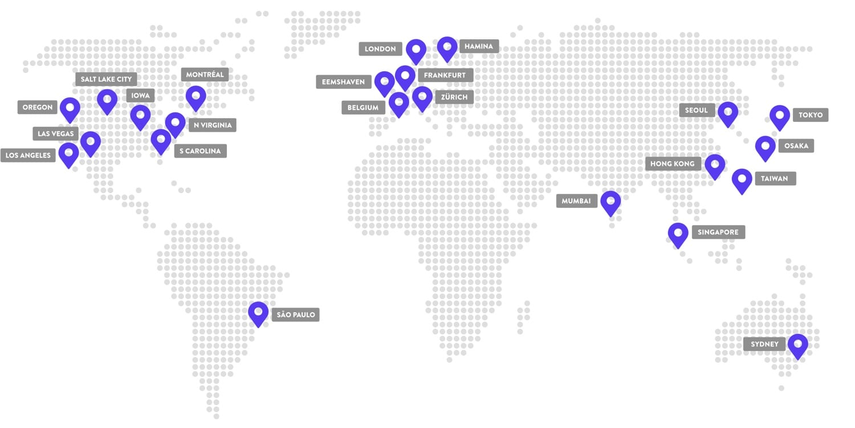 Emplacements des centres de données de Kinsta