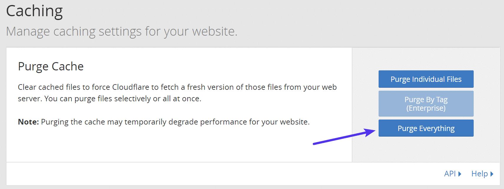 Purger la mémoire cache de Cloudflare