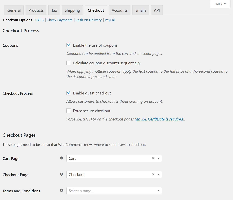 Configuration de la caisse de WooCommerce