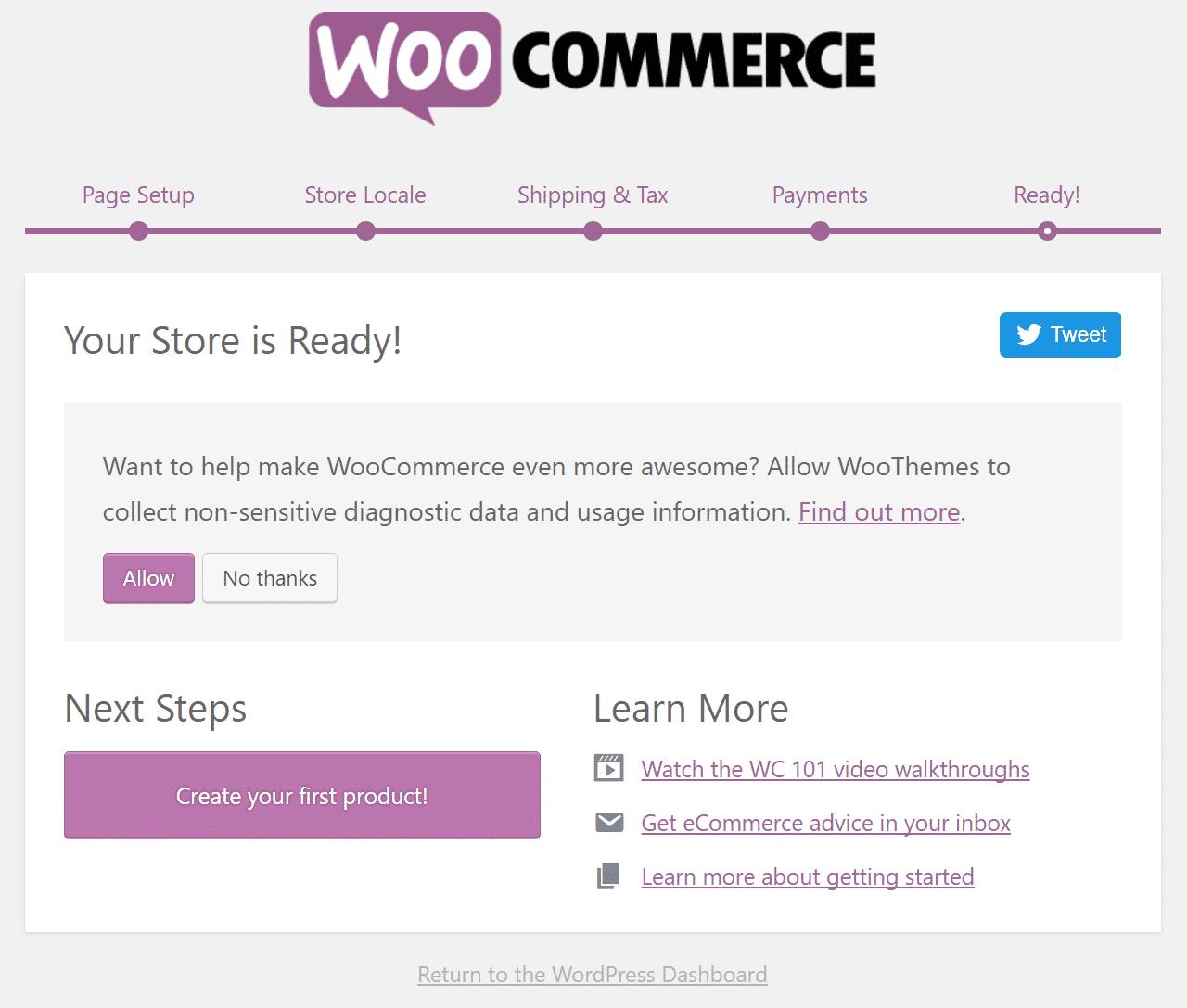 Confirmation de boutique WooCommerce prête