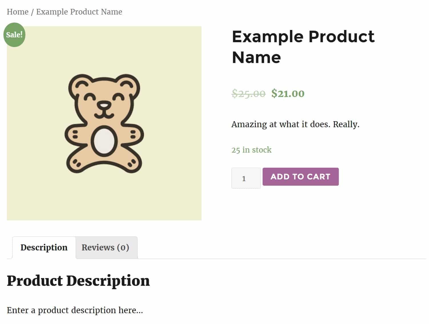 Exemple de produit dans WooCommerce