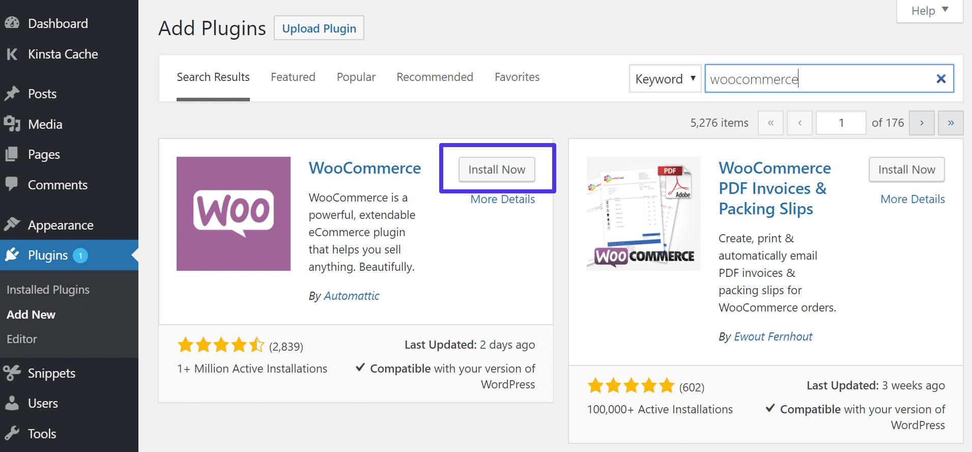 Installation de WooCommerce